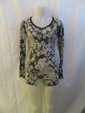 WOMENS ERGE GRAY,WHITE FLORAL PRINT LONG SLEEVE T-SHIRT SIZE L