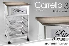 CARRELLO CUCINA BIANCO GRIGIO H76*48*37CM PANE LEGNO TDG 1 CASSETTO 3 CESTINI