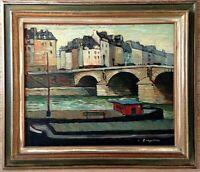 """Rare huile sur carton de Jacques Bouyssou (1926-1997),""""le pont Marie, Paris"""""""