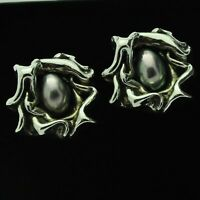 Pair of Vintage Heavy & Chunky Sterling Silver Baroque Pearl Clip-On Earrings