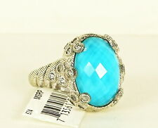 JUDITH RIPKA Sterling Silver Blue Turquoise Doublet  & CZ Ring Size 8