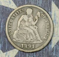 1891-O SEATED LIBERTY SILVER DIME COLLECTOR COIN, FREE SHIPPING