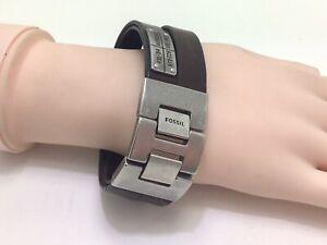 """Fossil Men's Wide Multi-Wrap Brown Bracelet JF03188040, 8""""/21cm, RRP £50"""