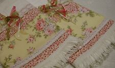 Cottage Chic Custom Decorative Guest Hand Towel Pink rose Lace Tassle Hand M