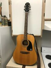 Epiphone pr-150 natural acoustic guitar. 6 string. Custom strings.