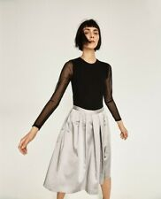 NWT Zara  Woman Silver Midi Skirt Size M/38