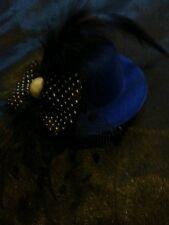 Diseño De Moda Sombrero Azul Clip Cabello con detalle de plumas y arco