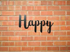 Happy Letters lettering Sign Metal Home  Kitchen