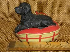 Cannon Falls Black Lab Puppy In A Red & Tan Dog Bed Ornament Nwt