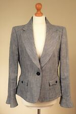 Jaeger Sz UK 14 EU 42 Pristine Tailored Linen Blend Jacket Blazer Peplum Grey