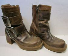 Womens Size 6 HARLEY DAVIDSON Brown Leather Boots - Zip & Buckles
