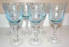 """6 Fostoria NAVARRE Blue 6 3/8"""" Etched Large Claret Wine Goblet Glass Crystal Set"""