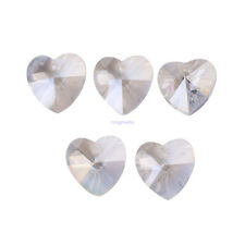 Peach Tilted Crystal Heart Glass Beads 20 mm heart DIY Jewelry Making 8 pcs