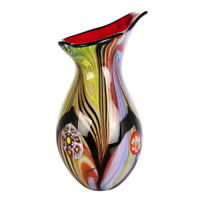 "Multi-color 13.5"" Tall Hand Blown Thick Teardrop Glass Art Vase with Angled Lip"