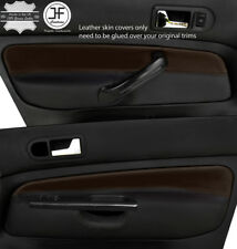 BLACK & BROWN 2X FRONT DOOR CARD LEATHER COVERS FOR VW GOLF MK4 98-05 5  DOOR
