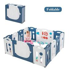 14 Panel Foldable Baby Safety Play Yard Playpen with Lockable Gate Blue & White