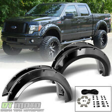 4PC SET 2009-2014 Ford F150 Bolt On Rivet Pocket Wheel Fender Flares Left+Right