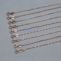 S925 Sterling Silver Plated Rose Gold Box Chain Necklace Italy Ladies Jewelry
