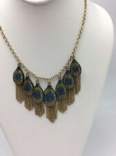 $75  LUCKY BRAND Gold-Tone Peacock Pave Fringe Statement Necklace A130
