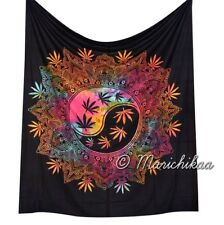 Multicolor Cannabis Wall Hanging Marijuana Ying Yang Tapestry Queen Hippie Decor