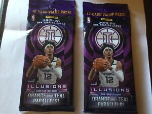 2 Packs 2019-20 Panini Illusions NBA  Cello Pack 12-card Value Pack