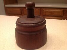 Antique Primitive Plunger Wooden Butter Mold Wheat Gorgeous Dark Finish No Crack