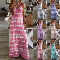 Damen Mode Sommer Farbverlauf Tourist Strandkleid Langes Maxikleid Sommerkleid/