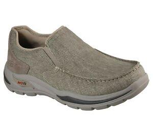 Skechers Arch Fit Mocassino Senza Lacci Beige Sneaker Sportive Scarpe Camminata