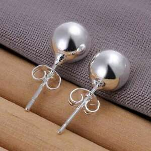 2PCS Fashion 925 Sterling Solid Silver Jewelry 8mm Ball Stud Earrings For Women