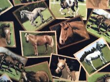 """Rare running real horses patchwork animal print fleece fabric, 60"""" by 57"""""""