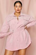 Mispap Puff Sleeve Pink Corded Dress Top Size UK 20