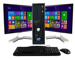 """Dell Computer Dual Core 4GB 2X 19"""" Wide ScreenS Windows 7 Pro Desktop PC WiFi"""