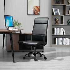 High-Back Office Chair Faux Leather Computer Home Desk Rocking w/ Wheels, Black
