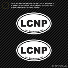 Pair of Lake Clark National Park Oval Sticker Decal Euro LCNP