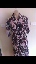 Ladies Black & White WOMBAT Dress Size Small 8-10 Semi Sheer Floral Long Shirt