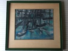 "Farber Original Pastel Painting Seascape, Signed, Framed, 19"" x 15"" (Image)"