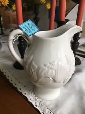 Blue Sky Ceramic New Seashell Menagerie White With Rustic Finish Pitcher