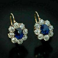 3Ct Oval Cut Blue Sapphire Diamond Huggie Hoop Earrings 14K Yellow Gold Finish