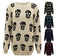 New Ladies Gothic Skull Knitted Crew Neck Pullover Jumper Sweaters UK Plus Sizes