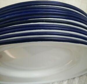 "Set of 11 Nice Pottery Barn White & Blue 10"" Dia. Enamelware Metal Dinner Plates"