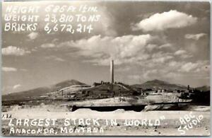 "ANACONDA, Montana RPPC Real Photo Postcard ""Largest Stack in the World"" 1954"