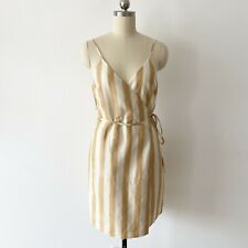 & Other Stories Striped Cotton Linen Mini Wrap Dress Size 6
