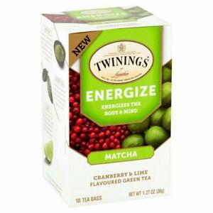 Twinings Energize Matcha Green Tea Cranberry & Lime 18 Bags Per Box Exp 6/23