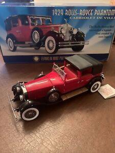 Franklin Mint 1:24 1929 Rolls-Royce Phantom I Cabriolet De Ville Red RARE