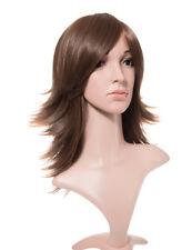 SARA-Marrone COMPLETO medio a strati Flick Onde Ondulato Parrucche Capelli Head Girl