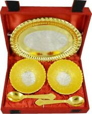 Indian Traditional Floral Bowl Spoon Tray Serving Set Diwali Gift For Friends