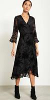 BNWT Mint Velvet Ellie Devore Wrap Dress Black UK 10 RRP £149