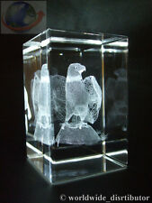 LASER CRYSTAL PAPERWEIGHT BIRDS EAGLE ON ROCK 3647 PRESENTATION BOXED