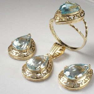 14k Gold Matching Very Light Ice Blue Aquamarine Earrings, Pendant and Ring S208
