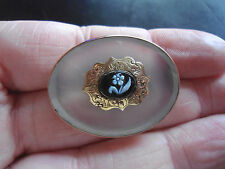 VICTORIAN 10CT ROSE GOLD,CHALCEDONY & FLORAL INTAGLIO CONCAVE OVAL BROOCH EB5